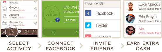 Select Activity > Connect your Facebook account > Invite your Friends > Earn extra cash