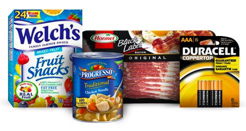 Welchs Fruit Snacks, Progresso Soup, Hormel Bacon, Duracell Batteries